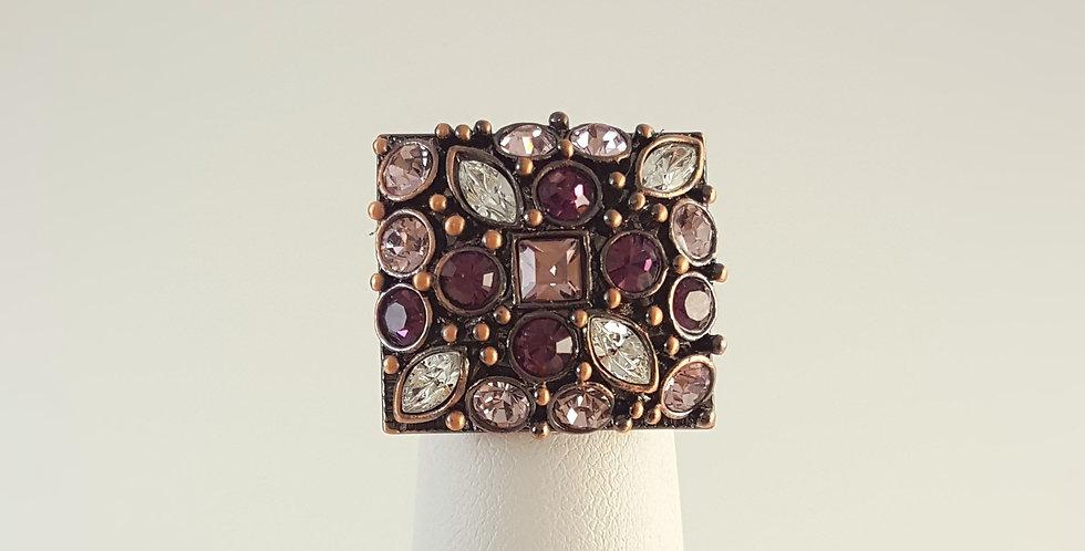 Purple Pink Rhinestone Copper Ring