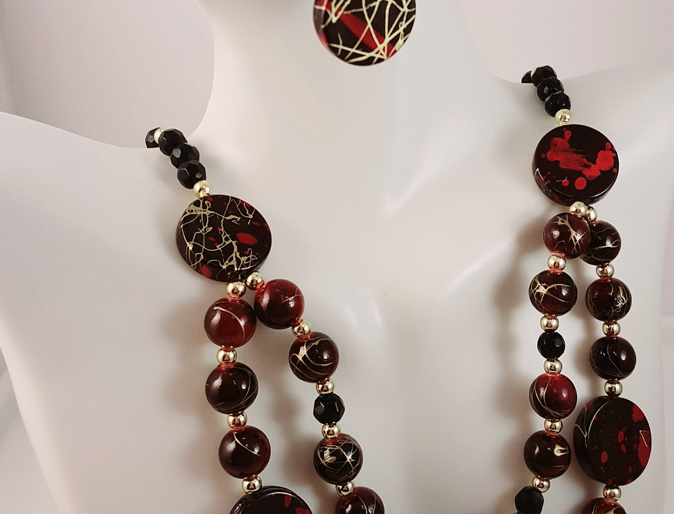 Double Strand Red, Black and Gold Necklace