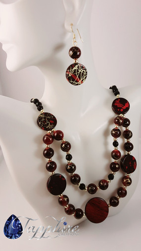 Double Strand Red, Black and Gold Necklace Set