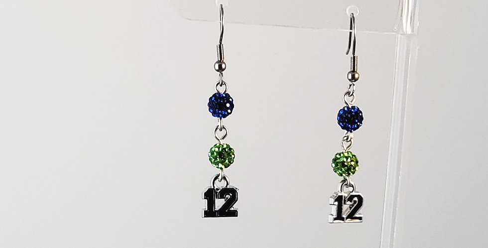Seahawks 12 Pave Earrings - Blue