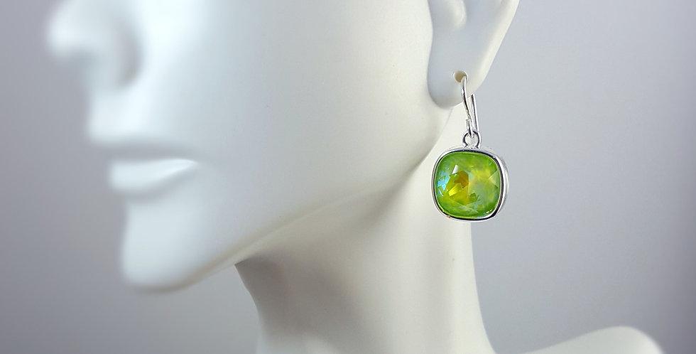Cushion Shaped Swarovski Crystal Earrings - Ultra Green