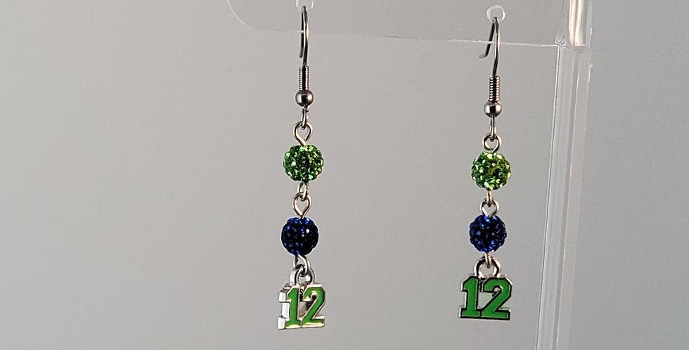 Seahawks 12 Earrings - Green