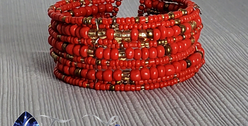 Memory Wire Seed Bead Cuff - Red
