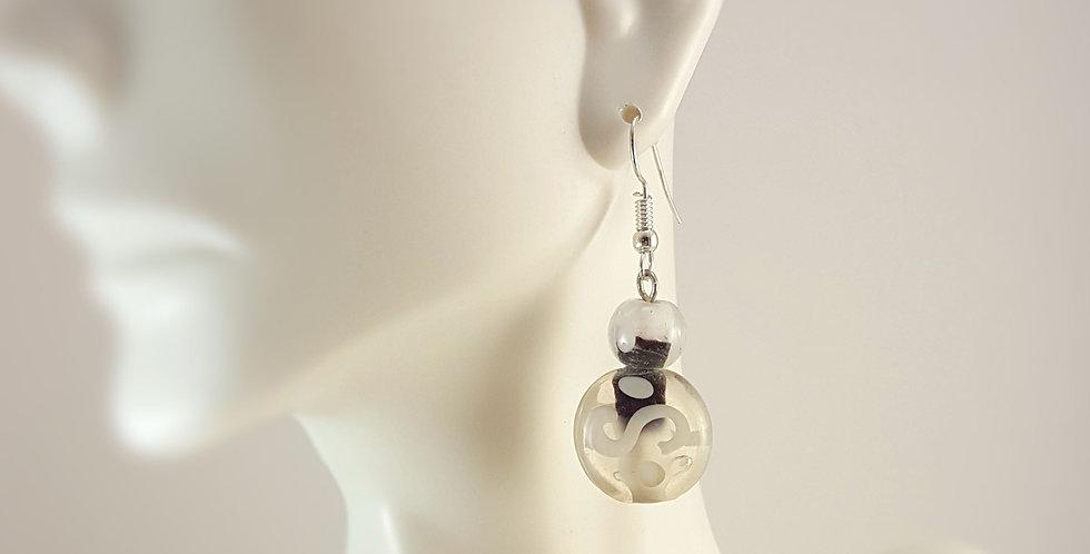 Black and White Swirl Lampwork Earrings