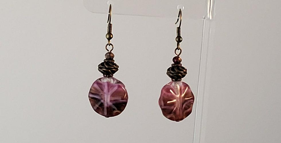 Antiqued Brass Purple Glass Earrings