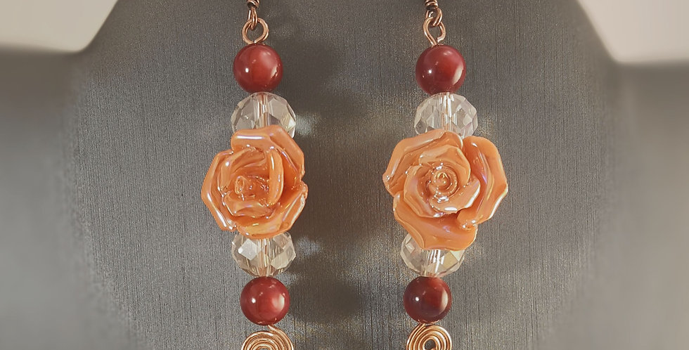 Copper Ceramic Rose Earrings with Spiral Detail - Orange Rose Red Agate