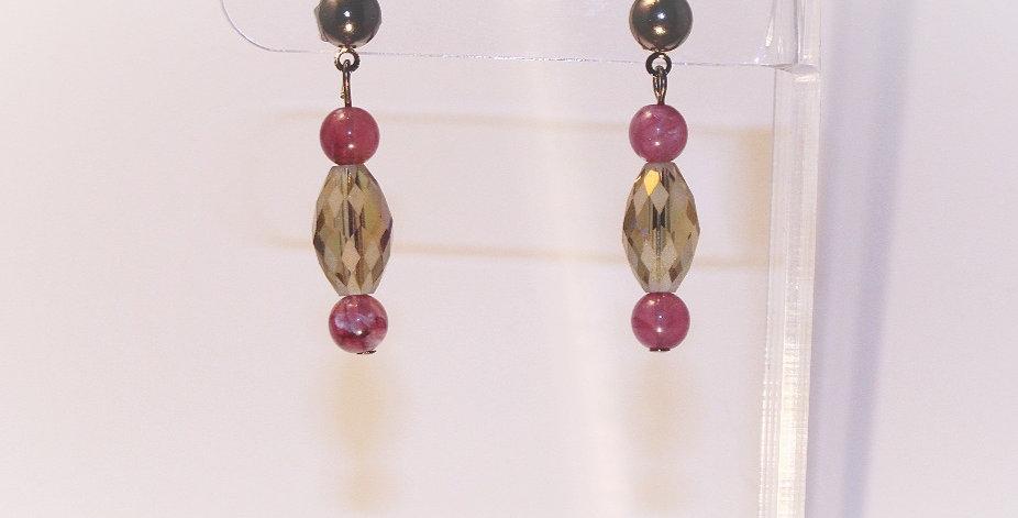 Lavender Checkerboard Gunmetal Posts Earrings