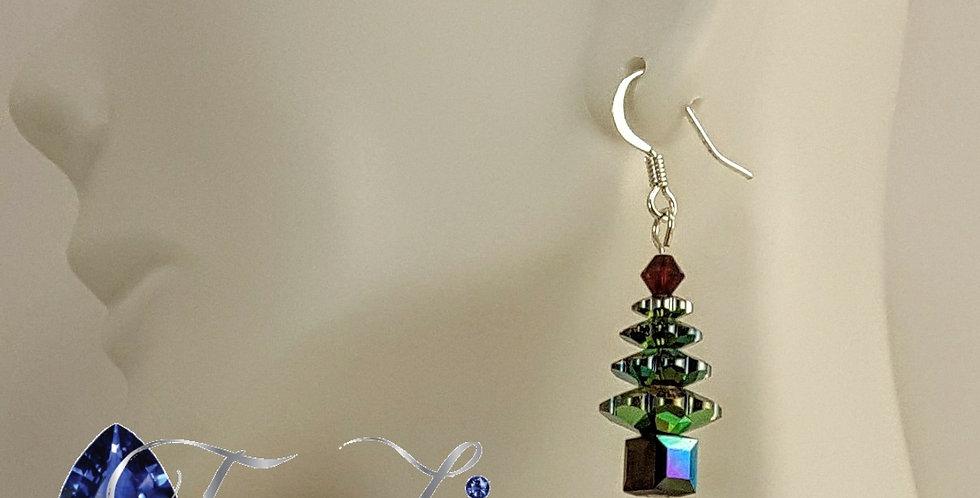 Swarovski Christmas Tree Earrings - Silver Red