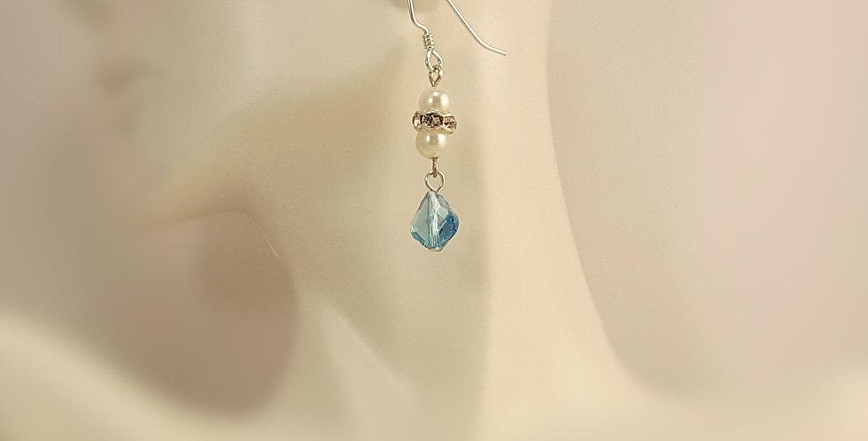 Swarovski and White Round Earrings - Aquamarine Baroque