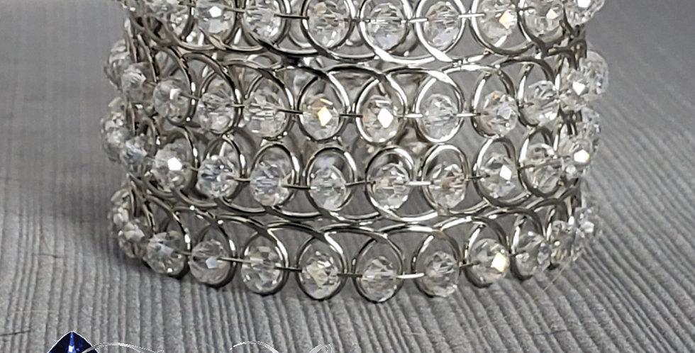 Wire Wrap Rhondelle Cuff - Silver, Clear