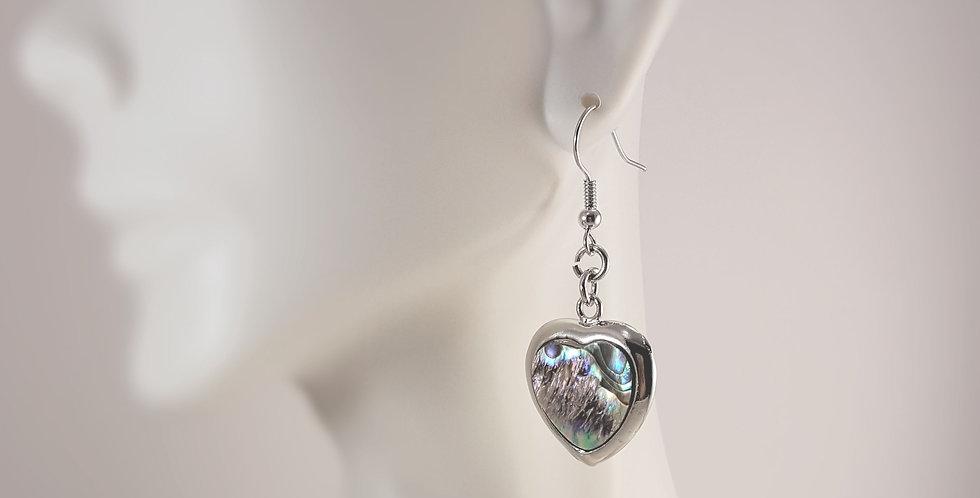 Silver Heart Earrings with Paua Shell