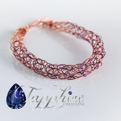 Knitted Copper Purple Bracelet