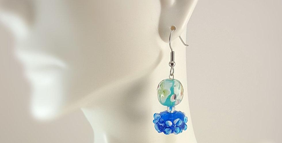 Hummingbird Blue Glass Earrings