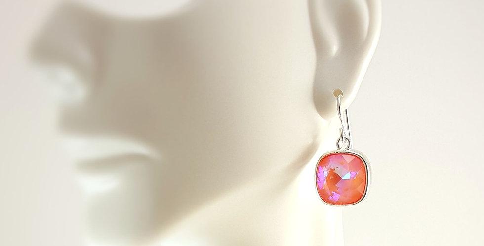Cushion Shaped Swarovski Crystal Earrings - Ultra Orange
