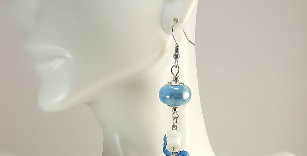 Light Blue Ceramic Rondelle White Blue Cluster Drop  Earrings