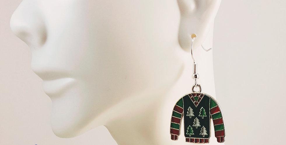Ugly Sweater Earrings - Christmas Tree