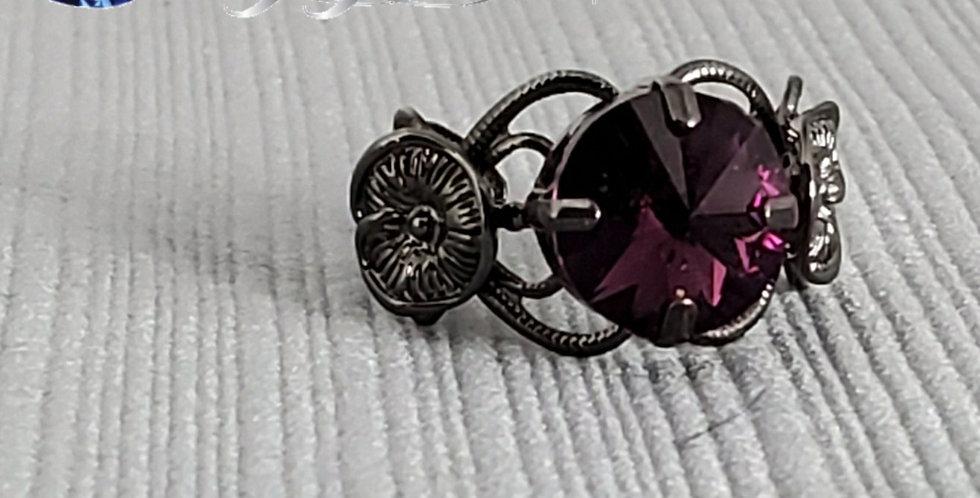 Swarovski Gunmetal Ring- Amethyst
