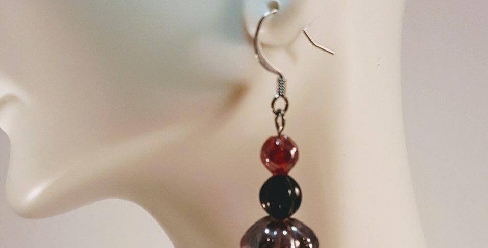 Red Black Lampwork Glass Earrings - Genie Bottle