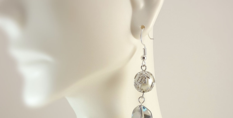 Wire Wrapped White Round with Clear Drop Earrings