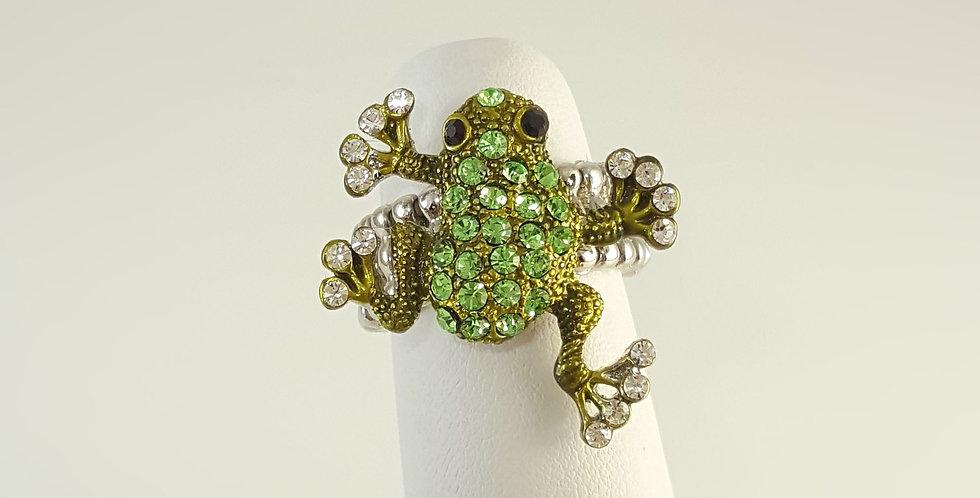 Rhinestone Frog Ring