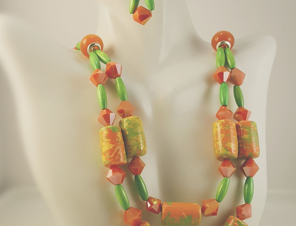 Fiber and Wood Bead Necklace
