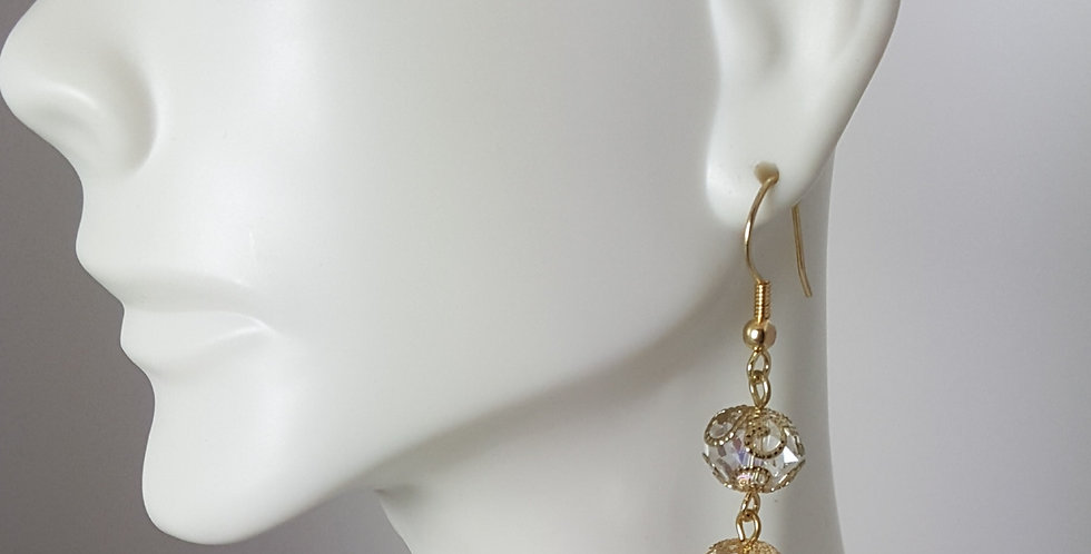 Gold Filigree Crystal Rondelle Earrings