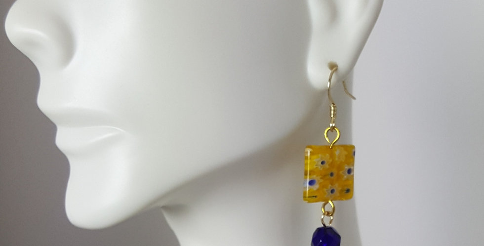 Navy Blue Yellow Millefiori Earrings