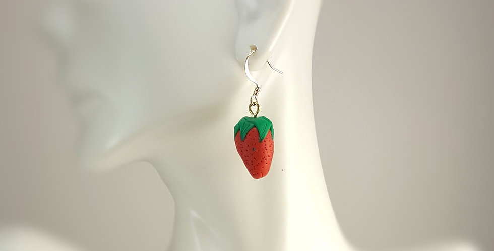 Sculpted Strawberry Earrings