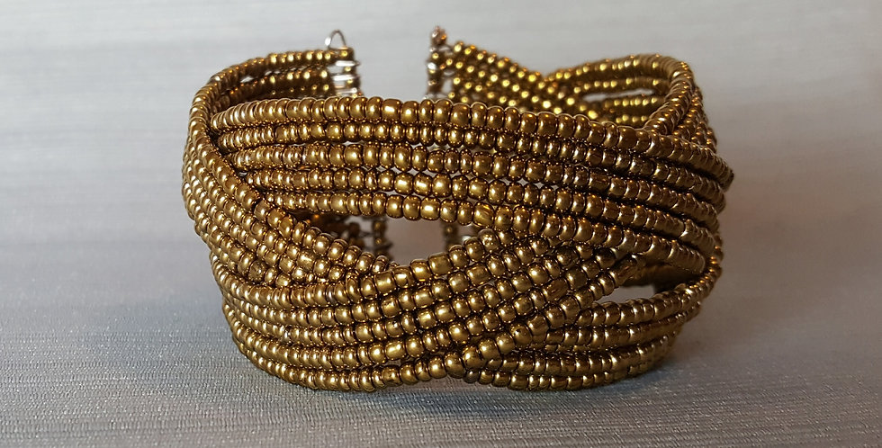 Braided Memory Wire Seed Bead Cuff - Gold