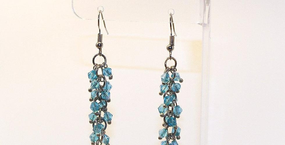 Bicone Cluster Earrings - Aqua