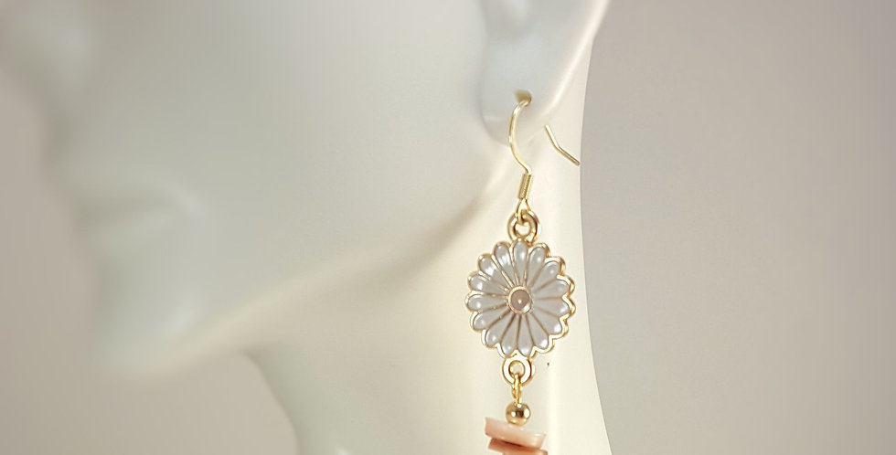 Enameled Gold Daisy and Shell Earrings