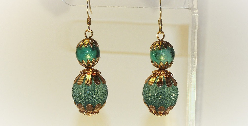 Gold Bead Capped Green Rounds Earrings