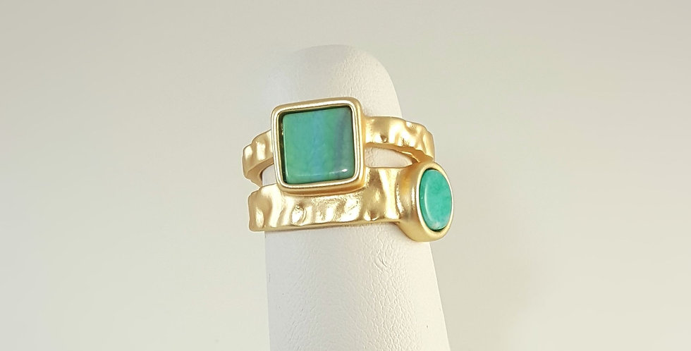 Blue, Green Pewter Ring - Size 8 1/2