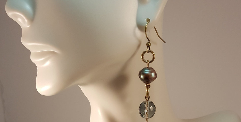 Potato Gray Pearl and Gold Earrings