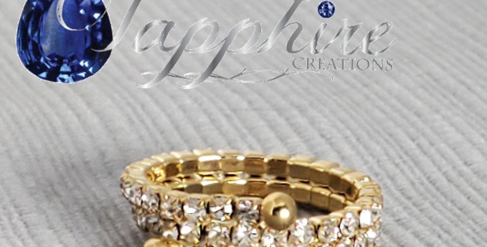 Gold Memory Wire Rhinestone Ring
