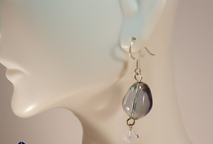 Irridescent Teardrop with Clear Dangle Earrings