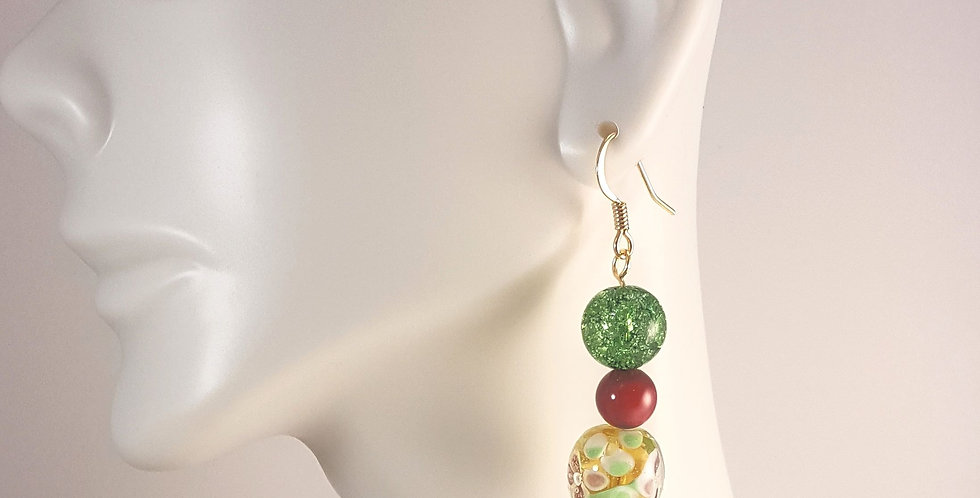 Spring Lampwork Glass Earrings- Green Crackle, Pink, Yellow Floral
