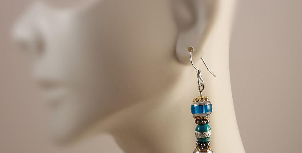 Eclectic Lampwork Glass Glass Earrings - Blue Silver