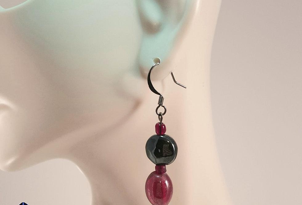 Red Black Lampwork Glass Earrings - Variation 2