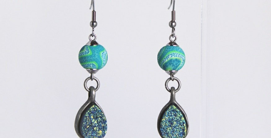 Teal Polymer Clay Round with Druzy Drop Earrings