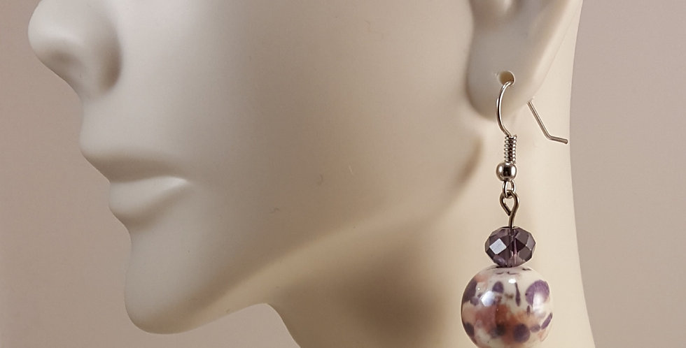 Purple and Pink Ceramic Earrings