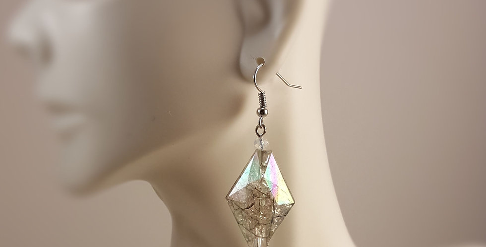 Diamond Shaped Crackle Earrings