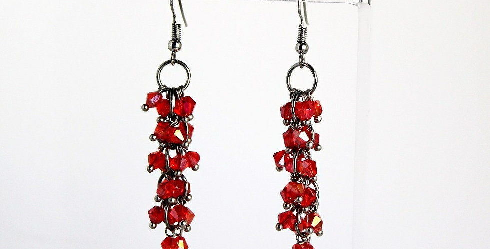 Bicone Cluster Earrings - Red