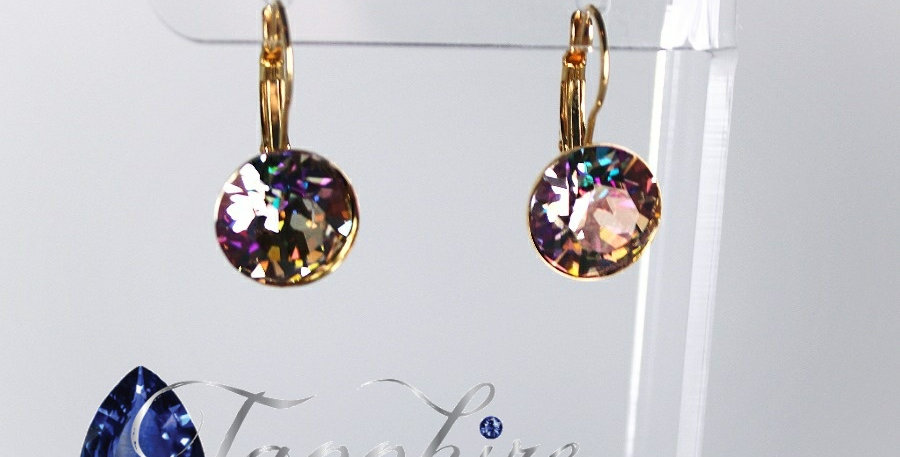SS55 Swarovski Leverback Earrings - Gold - Purple Haze