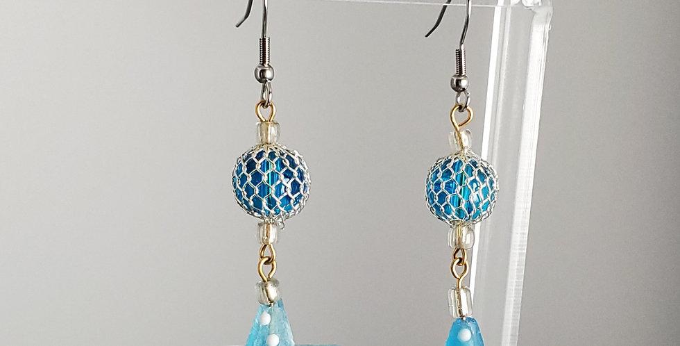 Fishnet Teal Starfish Polka Dot Earrings
