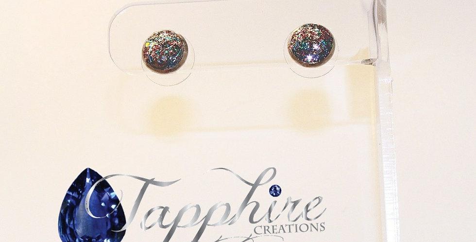 Glitter Druzy Stud Earrings - Blue