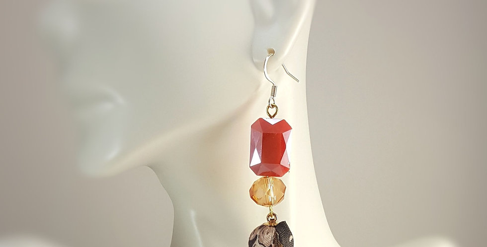 Red Faceted Glass with Fabric Drop Earrings