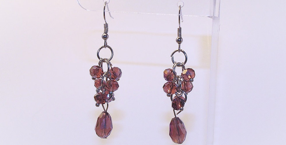 Rondelle Cluster with Teardrop Earrings - Purple