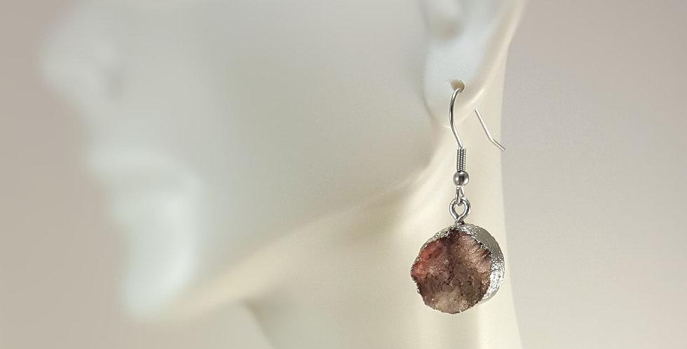 Druzy Earrings - Dusty Pink
