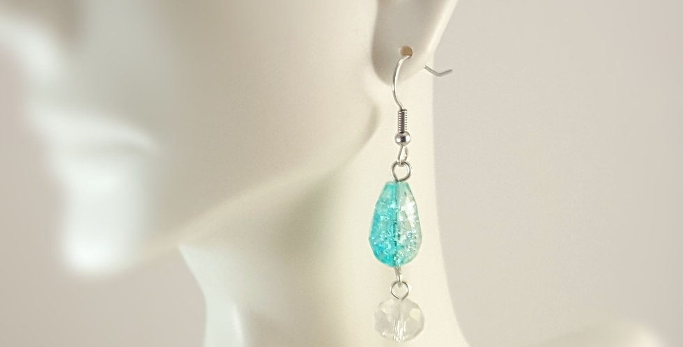 Crackle Glass Teardrop Earrings - Teal